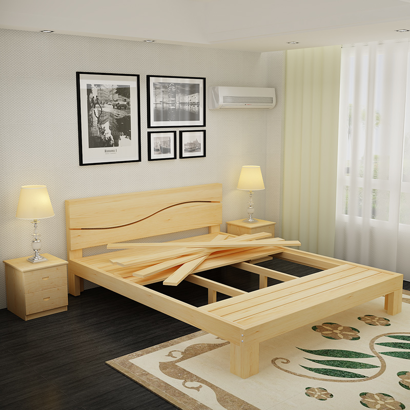 Solid wood bed double 1.8 meters of modern shipping pine children bed single bed 1.2 meters 1.5 tatami simple