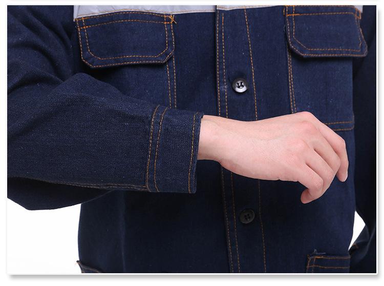 綿長袖カウボーイ作業服炭鉱自動車修理溶接工程服防火反射条の作業服無料印刺繍字