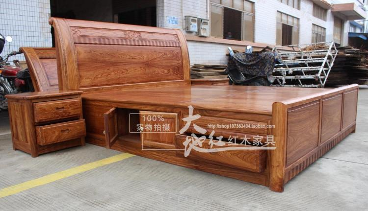 Rosewood bed, hedgehog rosewood, 1.8 meters double bed, rosewood bedroom bed, solid wood, modern simple marriage bed, Chinese style