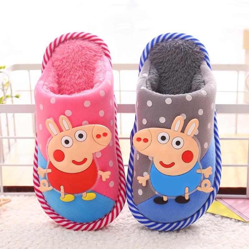 秋冬季儿童棉拖鞋卡通包跟男童女童防滑宝宝棉鞋大中小童室内拖鞋