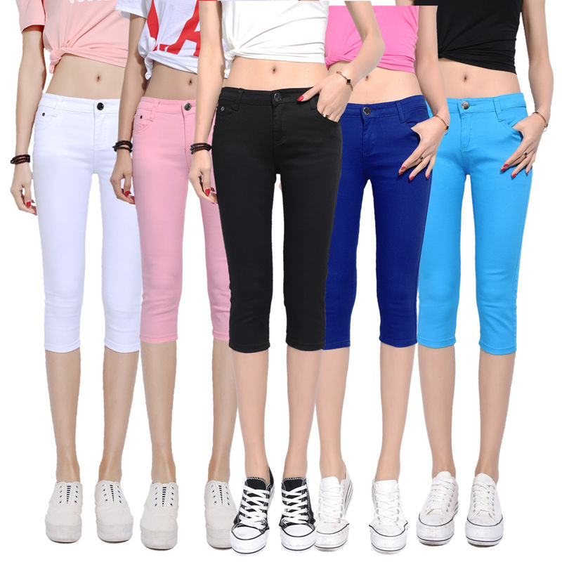 2017新款七分裤女夏季韩版糖果彩色中裤修身薄款显瘦弹力打底裤女