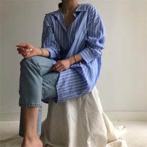 2613#現貨 原版料 韓國 chic  簡約 襯衫 條紋 連衣裙