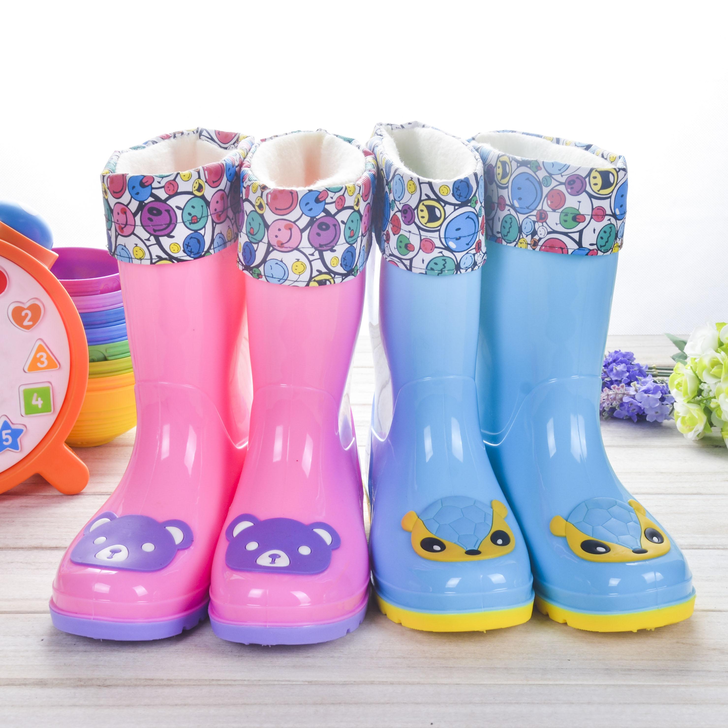 儿童雨鞋可爱防滑雨靴加绒保暖宝宝学生中筒雨靴男童水鞋女童套鞋