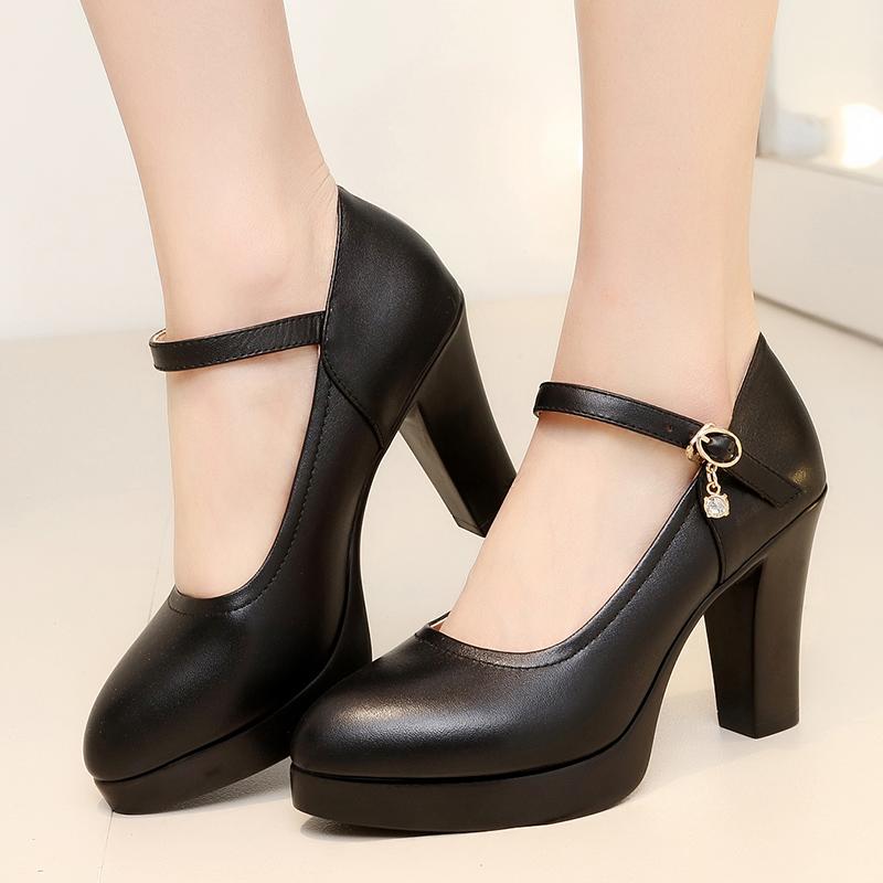 天天特价高跟防水台大码女鞋旗袍黑色模特单鞋粗跟工作鞋走秀鞋女