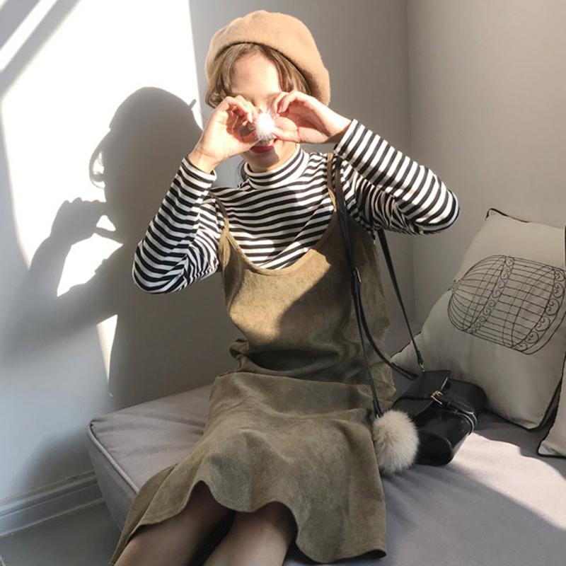 2017秋冬新款女装韩版修身条纹长袖T恤打底衫 中长款吊带连衣裙潮