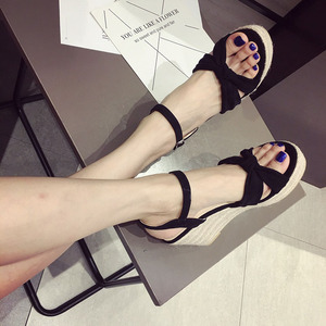 高跟鞋女夏2018新款坡跟凉鞋裸色百搭交叉防水台罗马凉鞋123-1