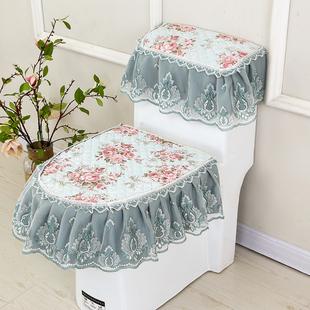 四季金丝绒马桶三件套蕾丝布艺拉链式高档马桶垫坐垫坐便垫套圈罩