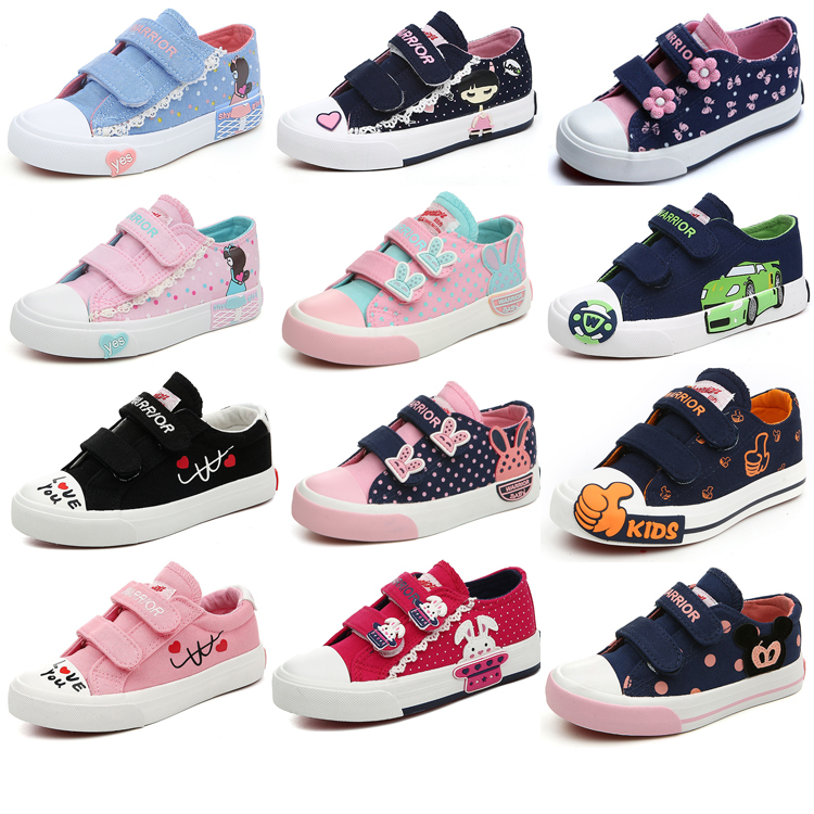 回力童鞋女童 儿童帆布鞋低帮透气防滑板鞋男童中大童鞋卡通球鞋