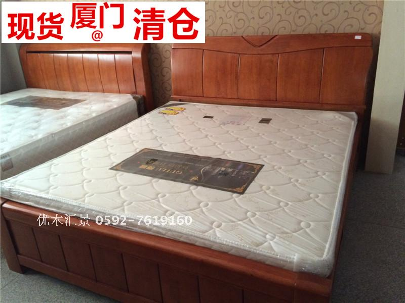 Xiamen modern simple Chinese wood double bed paint 1.5m1.8mYL