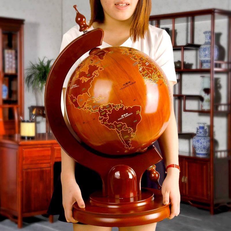 臺式 實木底座 高63cm高檔落地款實木地球儀擺件公司開業禮品辦公室書房創意實用裝飾品
