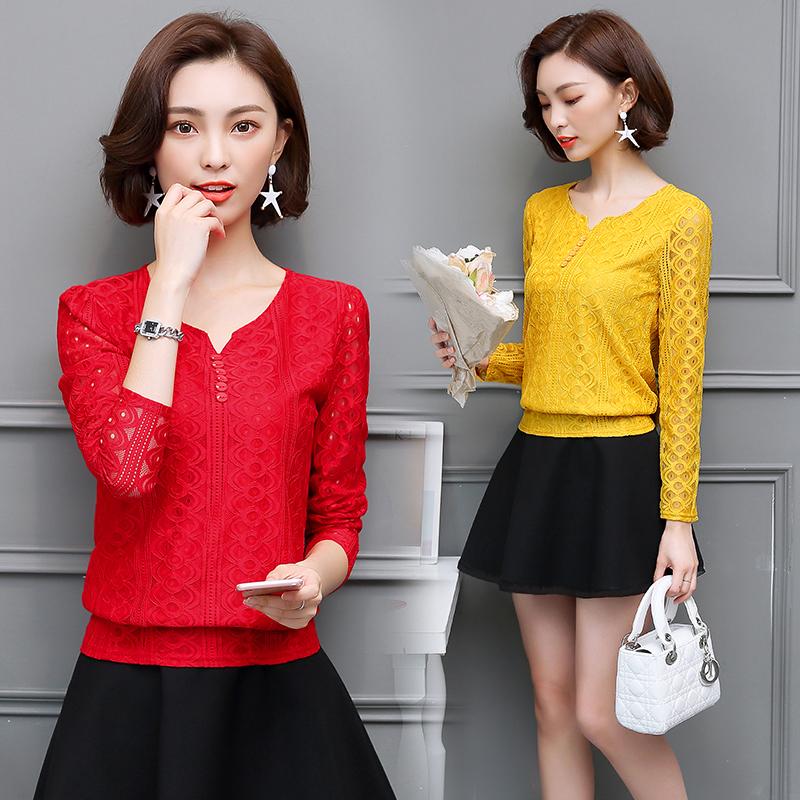 女装2017新款秋冬装短款显瘦上衣长袖女士打底衫时尚雪纺蕾丝衫