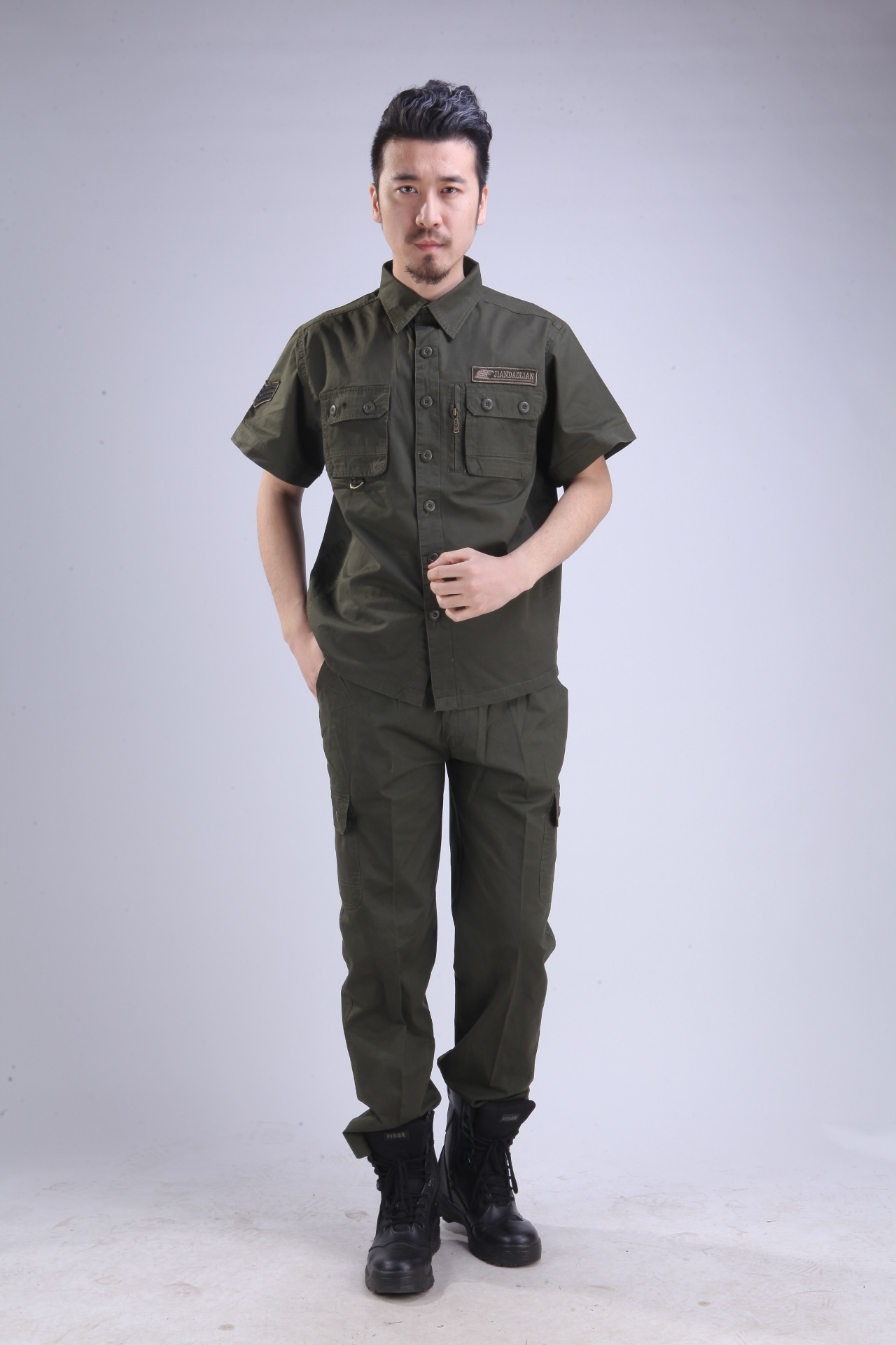 In summer, thin outdoor training clothing, overalls, men's pure cotton half sleeve breathable leisure car wear suit wear