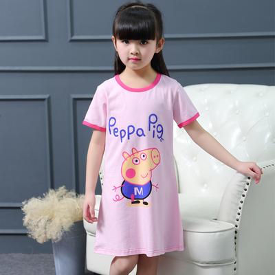 夏季女童睡裙连衣裙纯棉睡衣空调服短袖薄款女宝宝小童卡通公主裙
