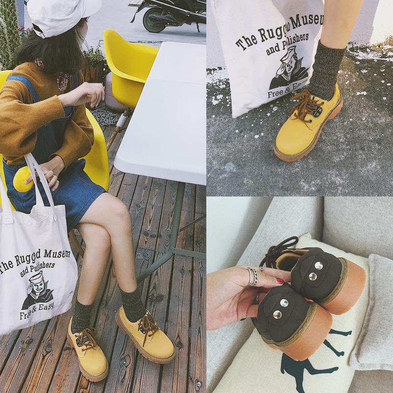 软妹鞋子日系黄色系带小皮鞋英伦学院风大头鞋女潮低帮复古马丁靴