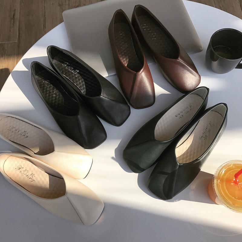 韩国新品平底单鞋女简约浅口软皮方头舒适休闲复古懒人豆豆奶奶鞋
