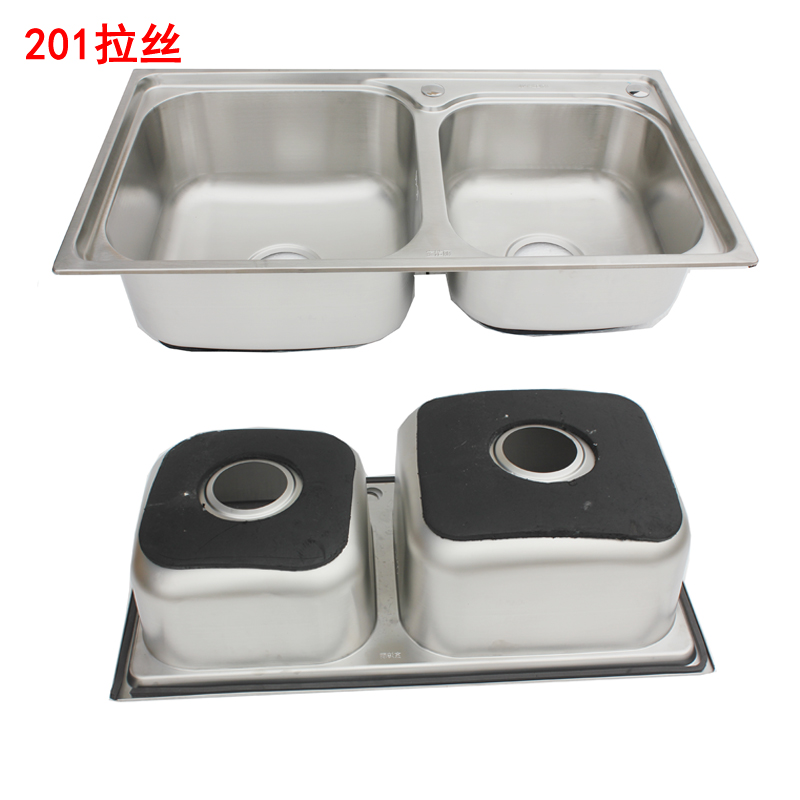 Integrated kitchen thickened single groove double groove stent made of stainless steel sink vegetable washing basin washbasin shelf