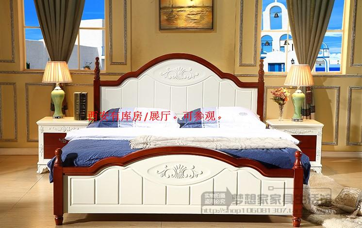 Xi'an all solid wood bed 1.8 double bed, Mediterranean bed 1.5 meters oak high box storage bed, white concise