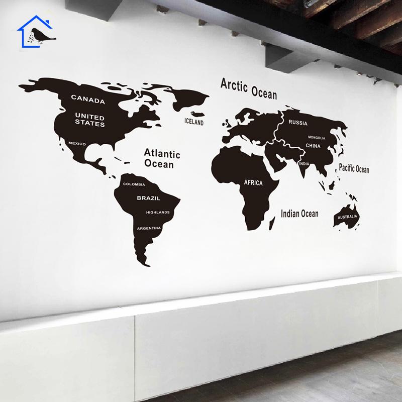 a款黑色中現代簡約世界地圖墻貼公司文化墻辦公室會客廳教室裝飾墻紙貼畫