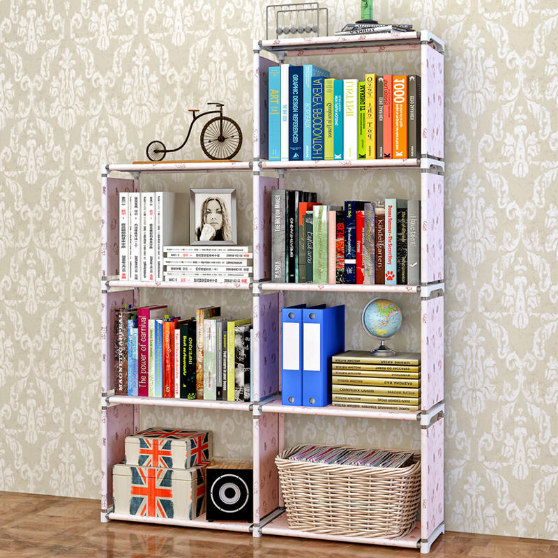 Bookcase bookcase bookcase bookshelf children free combination of simple lattice cabinet with cabinet combination storage lockers