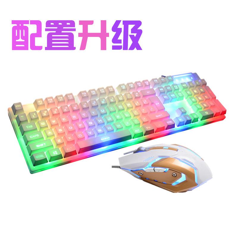 잘 팔리는 탁상용 컴퓨터 노트북 색 역광 등 유선 게임 키보드 마우스 세트 기계 촉감이 키보드