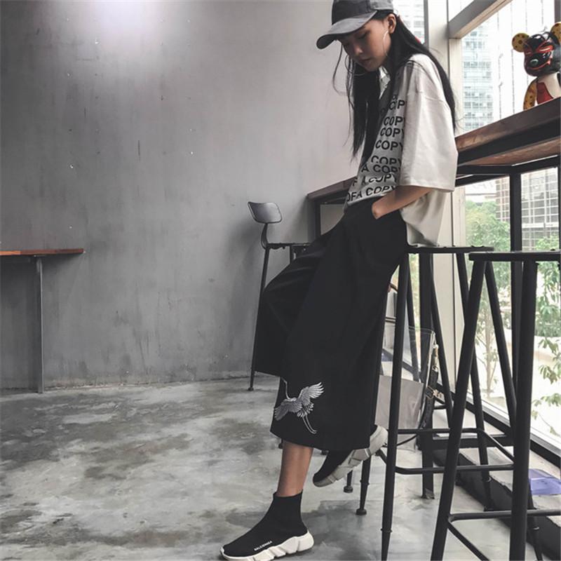 韩国ulzzang原宿风bf夏装女装仙鹤刺绣百搭休闲松紧腰七分阔腿裤