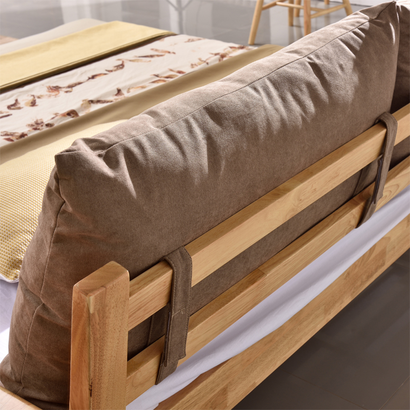 All solid wood bed logs, 1.5 meters, 1.8 meters master bedroom, modern pure Japanese style double soft bed, marriage bed, Nordic furniture