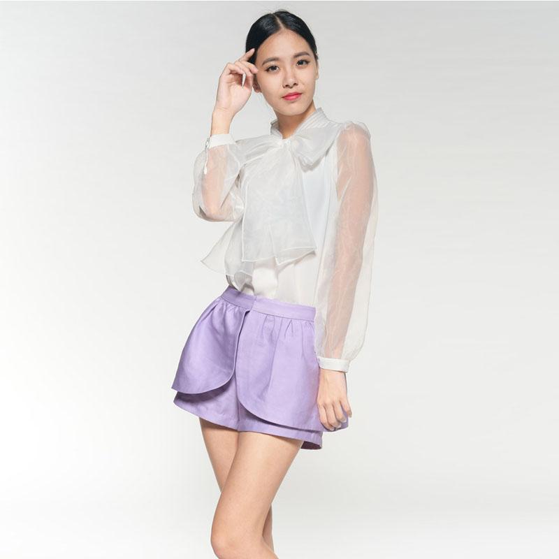 fan po efteråret langærmede bluse organza store sommerfugl. hvid skjorte nye koreanske studerende temperament kvinder 2017.