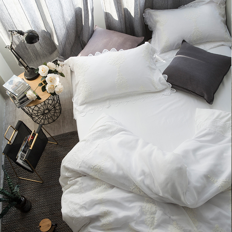 80 high-end Tencel four piece lace cotton bedding bedding Korean fresh spring