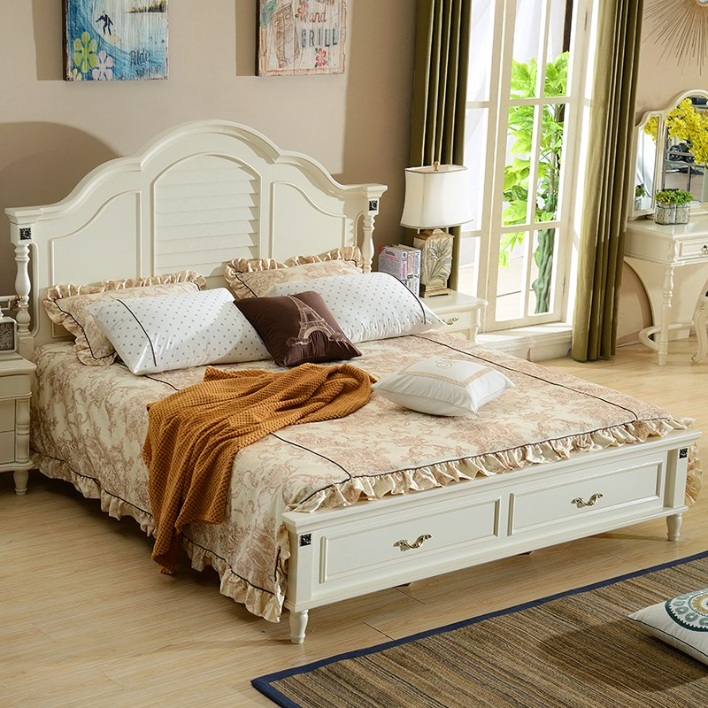 [new] American white bed solid wood bed 1.8 meters modern simple European style bed Zhuwo Jane bed double wedding