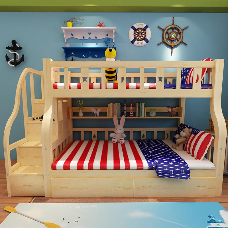 Houten bed uit het bed van groot bed en de kinderen in bed met de moeder in bed bed lagen hout.