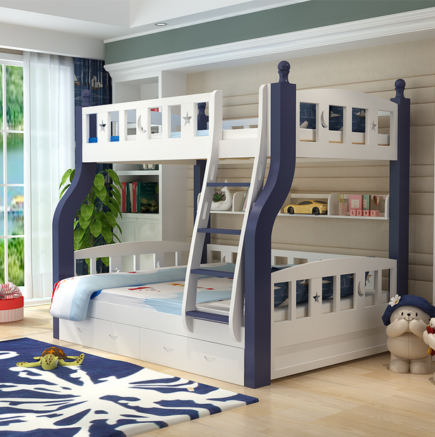 Double bed multifunctional combined bed bed solid wood bunk bed children pine bunk bed bed cluster on the bed
