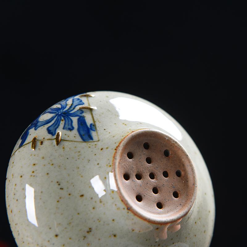 Vintage Japanese ceramic tea tea coarse pottery filter funnel fambe Kung Fu tea tea isolation stainless steel strainer
