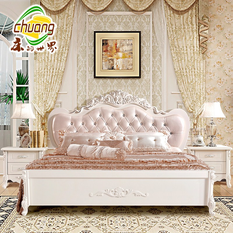 European style bed 1.5 French Carved bed bed bed 1.8 Korean garden Princess Jane Zhuwo high box wedding bed double bed