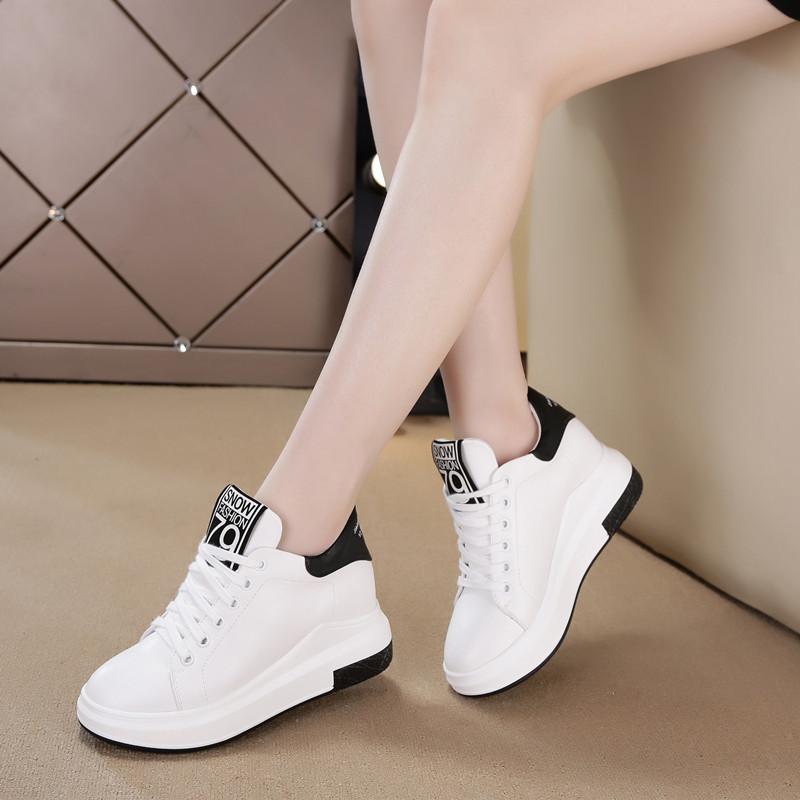 小白鞋秋鼕女加絨棉鞋休閑運動鞋韓版內增高女鞋厚底坡跟百搭白鞋