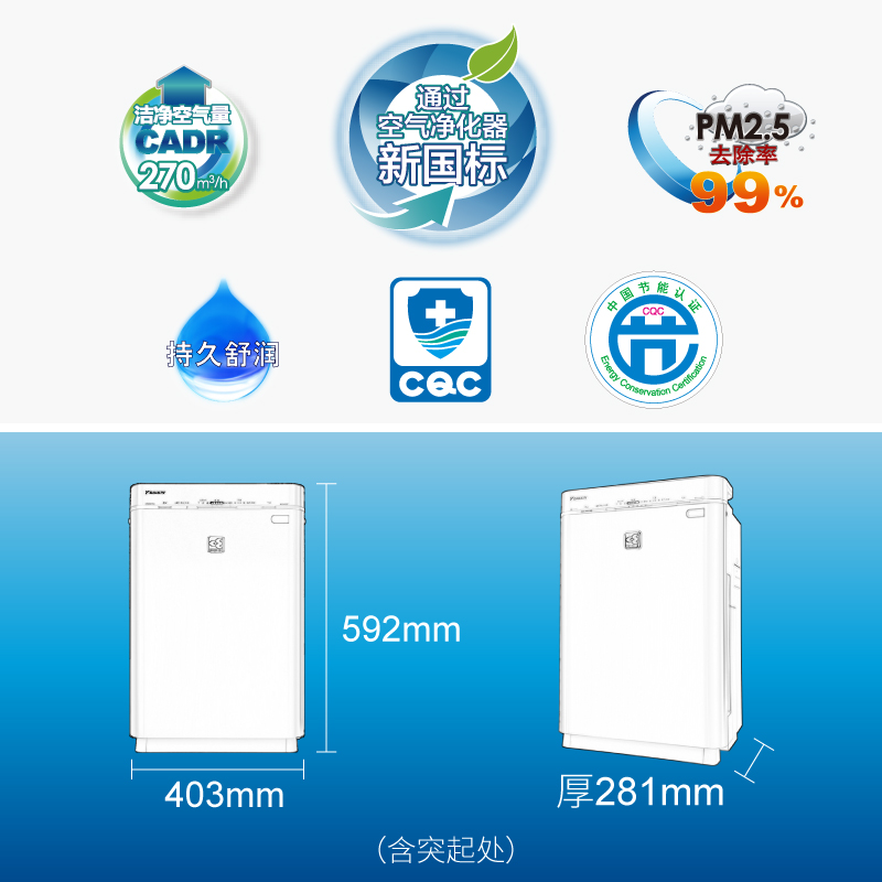 Daikin Air Purifier household humidifier except PM2.5 in addition to haze formaldehyde smell smoke MCK57LMV2