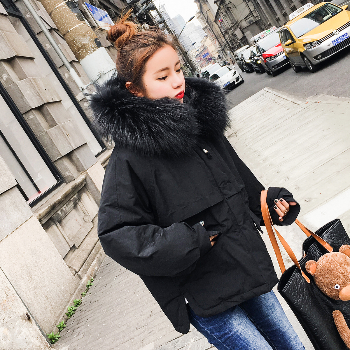 棉服 bő téli. ulzzang női rövid) chic jelöl 棉衣 韩版 nagy szőrös kis - nyakú.