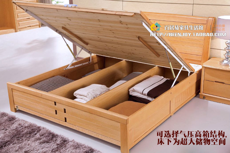Guangzhou Yufeng furniture beech beech enjoy Ruyi double bed solid wood pneumatic high storage box bed L121