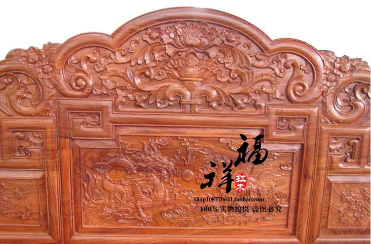 Rosewood furniture, rosewood, hedgehog, rosewood, 1.8 meters double bed, solid dragon and Phoenix bed, combination bed, marriage bed