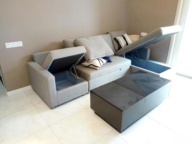 小型現代多機能ソファベッドさんメートル収納折りたたみ洗い張り曲がり角グループ伸縮布製ソファ
