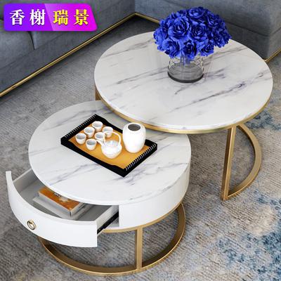 大理石茶几抽屉 北欧圆形网红ins风格创意简约小户型现代轻奢客厅