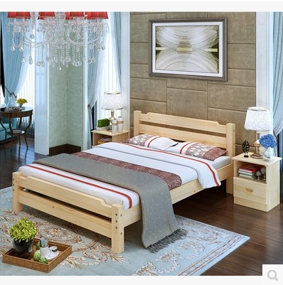 Modern minimalist wood bed double bed tatami bed frame 1.5/1.8/1.2 meters pine single bed