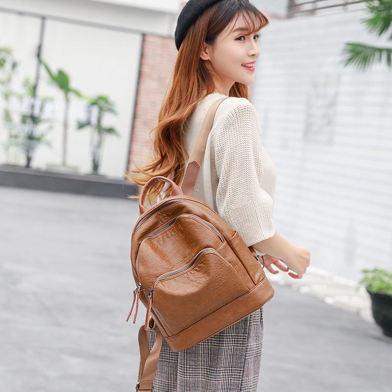 真皮牛皮双肩包女韩版2017新款潮百搭英伦背挎两用女包软皮背包