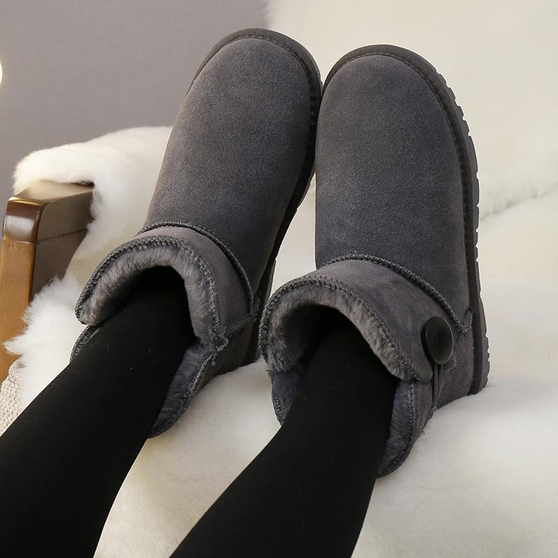 百搭真皮雪地靴女学生加厚韩版短筒鞋2017秋冬季棉鞋新款加绒女鞋