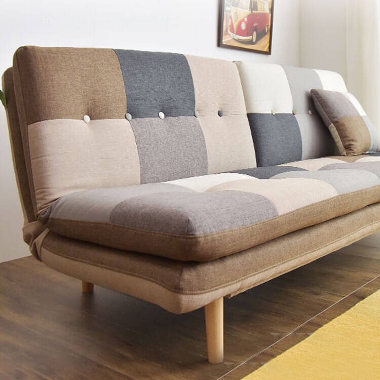 Small family double sofa bed, folding sofa bed, dual purpose Japanese style living room, multi-functional fabric, simple wooden sofa