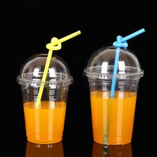 pet透明塑料杯一次性杯子饮料杯冷饮杯打包果汁杯冰咖啡带盖100套