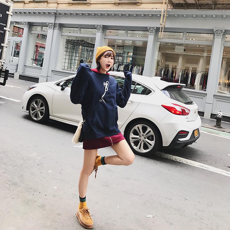 BIGKING Daikin дом врезался цвет даже шапка отпуск на две части с длинными рукавами свитер корейских студентов - 2017 новый набор голову прилив