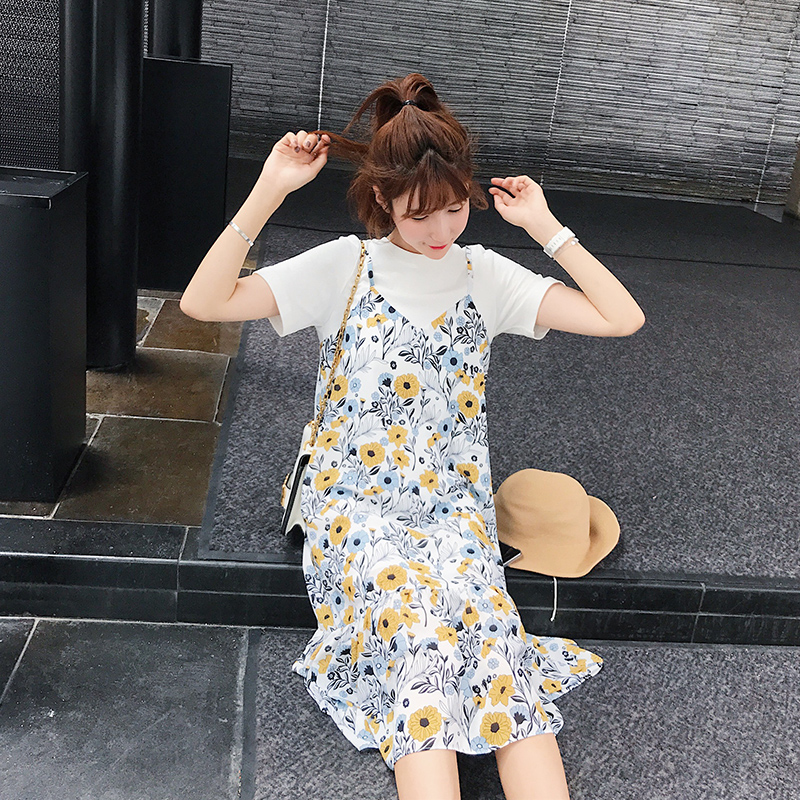BIGKING Jin Jia Qing new temperament Floral Chiffon Dress summer holiday two female 2017 new students