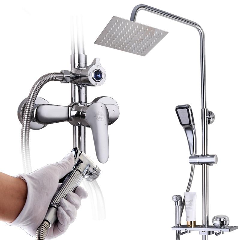 じょうろスーツシャワー冷熱の混じる水弁トイレ浴室明装宇宙を家庭用アルミ蛇口