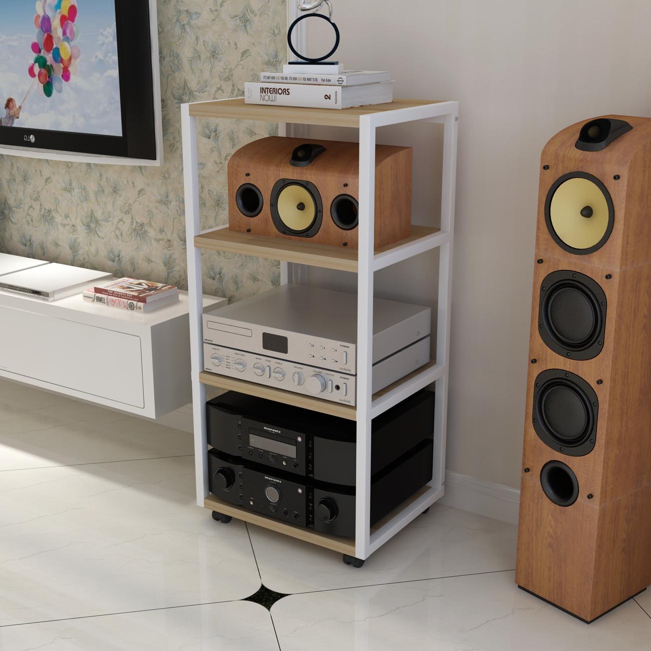 Un marco de madera del amplificador audio Equipment rack audio TV KTV trípode metálico sonido.