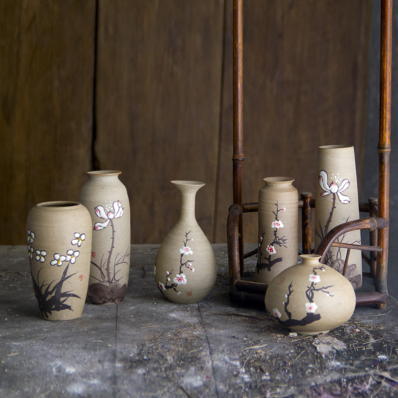 e款景德鎮手工陶瓷花瓶復古田園小花插粗陶復古花器客廳玄關擺件臺面